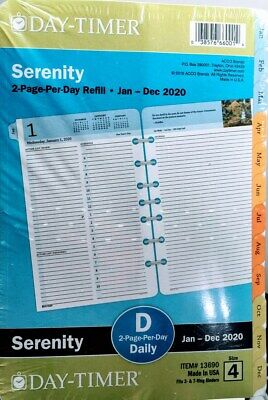 Day-timer Planner Refill 2020 Serenity 2 Pagesday Size 4 Item No.13690