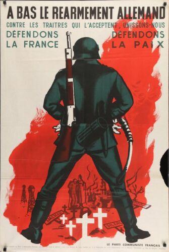 A BAS LE REARMEMENT ALLEMAND Vintage 1951 French Communistic Party poster