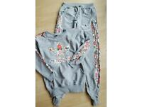 20% off Adidas tracksuit jacket hoodie bottom size S flower print grey multicolor ladies women's