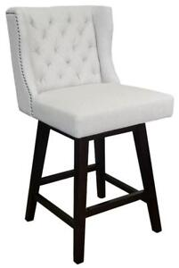 Swivel Kitchen Counter Stool in Dark or Light Grey Fabric w/Brushed Silver Nailhead