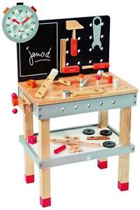 Janod Juratoy Magnetic Workbench Wooden Wood Tool Bench Tools Kids Toy Set New Ebay