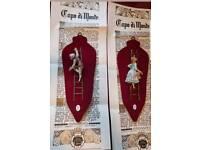 Vintage capodimonte boy and girl plaques