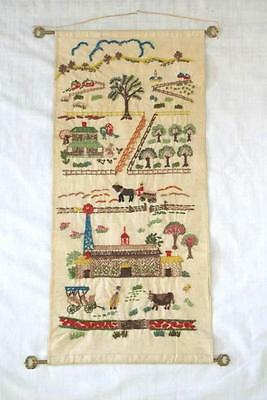 Hand embroidered farm scene wall hanging, folk art from Guatemala, hanging rods