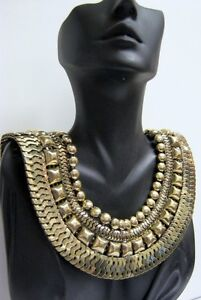 GOLD STATEMENT COLLAR GRECIAN GODDESS CHUNKY VINTAGE STYLE EGYPTIAN NECKLACE