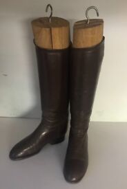 Handmade brown leather long riding boots size 7