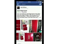 Top range red Fridge freezer the red is glass doors also the draws