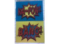 """Comic style glass wall art """"Ka-pow"""" & """"bang"""""""