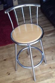 2 chrome plated Pine seat bar stools