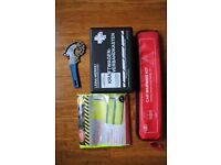 Car safety kit, safety triangle, hi-viz vest, first aid, oil filter wrench, Headlamp Converters