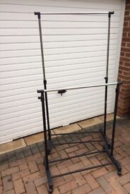 2x clothes rails with adjustable height