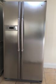 American style fridge freezer - silver in excellent working order