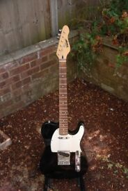 Vintage brand telecaster style guitar single coil pickups 3 way switch black white scratchplate