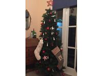 Slim Christmas Tree 6.5ft includes John Lewis ornaments, topper, and pinecone garland
