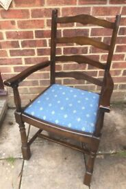 Lovely Ladderback Dining/Living Carver chair painted in any colour & reupholstered any fabric