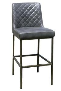 Grey Leather Bar Counter Stool with Bronze Steel Frame - Ideal for bars and restaurants