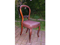 Vintage - Mahogany Balloon Back Chair - Leatherette Seat