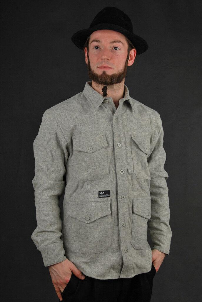 Details about Adidas Jacket David Beckham Medium Grey Heather Military Jacket Parka Wool Jacket show original title