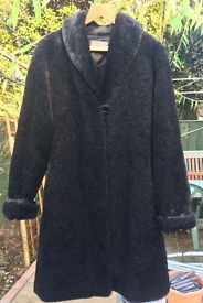 Black Faux Fur Coat size L/XL