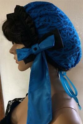 Civil War Victorian 1800's Headpiece Snood Hairnet, Black and Blue