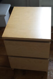 Ikea bedside table, chest of drawers in oak veneer, Malm