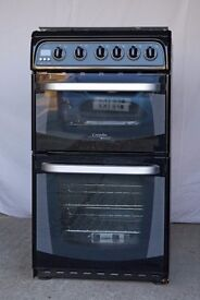 Cannon/ Hotpoint CH50GCIK compact 50cm width freestanding Gas Cooker finished in black.