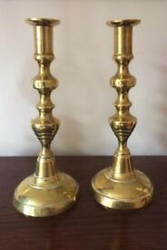 Pair brass candlesticks.