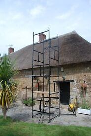 Abru 4.8m steel scaffold tower. With stabilisers, adjustable feet and 4 boards. Light trade rated