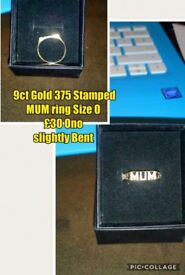 9ct gold rings, mens 925 silver ring