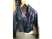 Ladies black genuine leather biker jacket fully lined, size 36, excellent condition £80