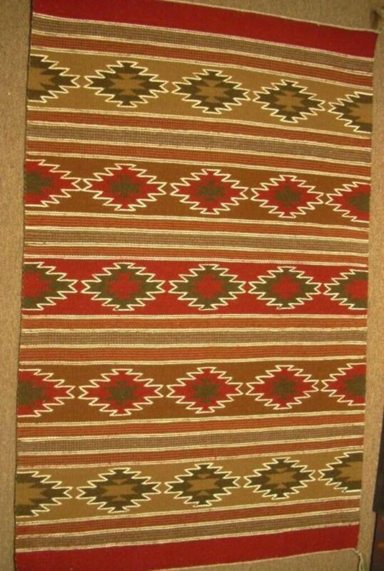 """Vintage Crystal Navajo Red Wool Rug Hand Woven 40"""" x 25"""" Native American Style"""