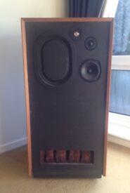 2 x RARE EARLY IMF VINTAGE 1972 Large Floor Standing Transmission Line SPEAKERS Wood Cased