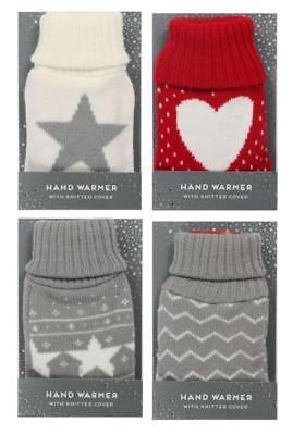 Set of 2 Pocket Hand Warmers With Knitted Cover Re-Useable Hot Heat Reuseable Pocket Hand Warmers