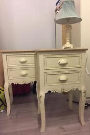 Pair of country cream/ shabby chic 2 drawer bedside tables ono