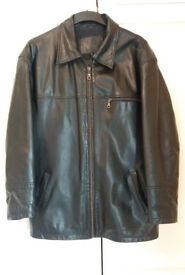 Mens Leather Jacket / Coat , Black , Small