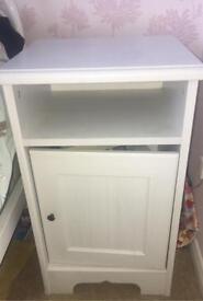 White wooden bedside cabinet