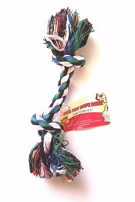"Knotted Dog Rope Tug Chew Toy For Small Dog Cotton Braided Rope 8"" Long"