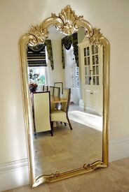 Extra large Brand new Hand Carved Wooden Gold Louis XV mirror 215 X 115 cm