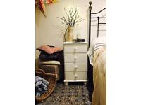 Pair of white wooden bedside cabinets