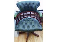 VINTAGE HAND CRAFTED LEATHER CAPTAINS CHAIR