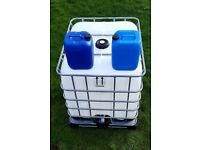 1000l IBC cubes, water tanks + 20l liquid containers, jars, drums (no oil)
