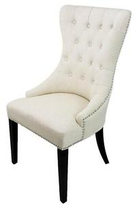 High Back Tufted Accent Dining Room Chair in Grey, Black, Metallic Grey Leather, Neutral Linen and Grey Fabric