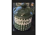 GREEN & WHITE CHECKED GINGHAM MATCHING COFFEE TEA SUGAR & BISCUIT CANISTERS/CADDY/TIN/JAR
