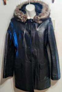Oakville RUDSAK LEATHER PARKA Womens 8 10 M Black Real Fur Hood Jacket Car Coat Made in Canada