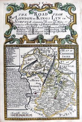 CAMBRIDGESHIRE CAMBRIDGE  BY EMANUEL BOWEN GENUINE ANTIQUE ENGRAVED  MAP c1720