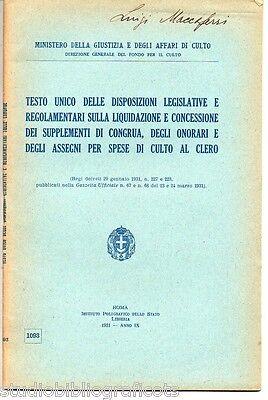 DISPOSIZIONI LEGISLATIVE.. ONORARI PER SPESE DI CULTO AL CLERO 1931 lateranensi