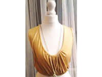 Ladies Mustard Yellow Ruched Sleeveless Cropped Summer Top.Size 20.