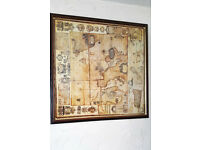 Large, Vintage Look, Framed, Map of Europe Picture