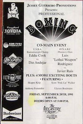September 20, 1991 Boxing Program - Scottsdale, Arizona
