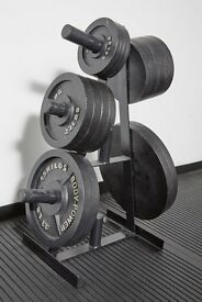 Body Power Olympic Weight Tree and Cast Iron Olympic Weights plus Olympic Bars