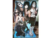 Kiss Rock Group Life Size Cardboard Cut-Out + Paul Stanley Washburn Guitar Advert
